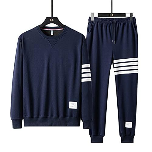 BAAFG Juego de chándales para Hombre Fondos de Pullover Botting Gimnasio Ejercicio Ejercicio Deportivo Sweat Pants Traje blue-4XL