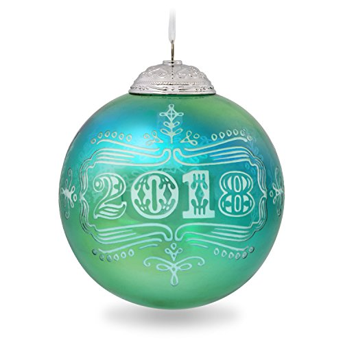 Hallmark Keepsake Ornament Year Dated Glass Christmas Commemorative Teal Blue Gree, 2018 Ball