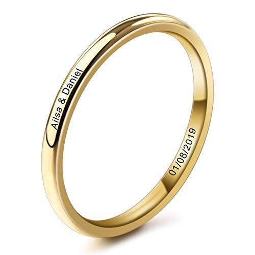 MeMeDIY 2mm Oro Dorado Tono Acero Inoxidable Anillo Ring Banda Venda Alianzas Boda Amor Love Talla Tamaño 7 - Grabado Personalizado