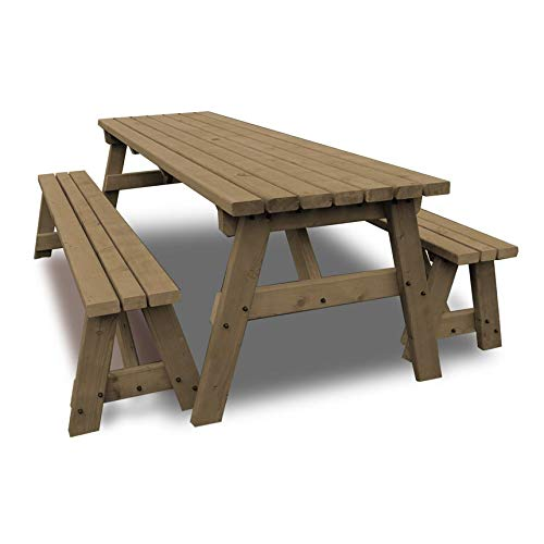 Rutland County Garden Furniture - Oakham Picnic Table Heavy Duty Pub Style With Bench Set - Ideal For Gardens And Patios (6 ft, Rustic Brown)