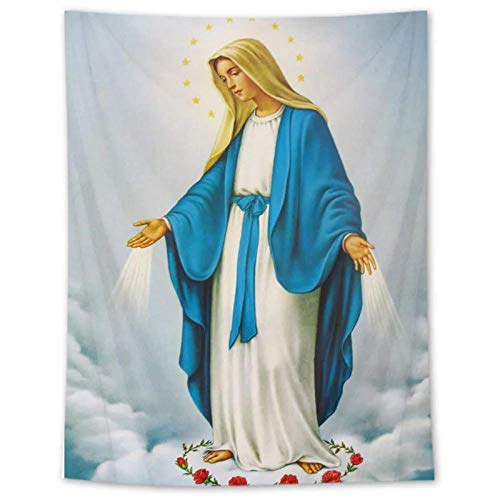 KBIASDTapiz Bendito Madre Dios Arte de Pared Cristiano para Decoraciones del hogar Jesucristo 150x100cm