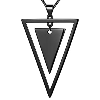 beautlace Double Triangle Necklaces Black Gun Plated Geometric Minimalist Pendant Jewelry for Men and Women KP0105K