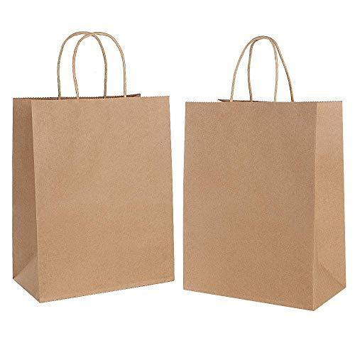 Gaoyong 15PCS Bolsas de Papel con Asas 26 x12x 32cm,Bolsas Ppapel Kraft,Bolsas Papel Regalo para la Tienda de Comestibles para Hornear Compras Minoristas Boutique (Espesar 130 g / m2)