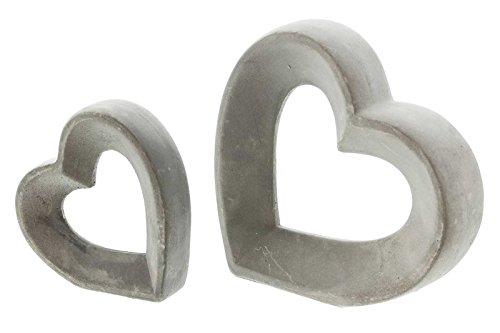 SIDCO Deko Herz 2 Stück Liebesherz Zement Skulptur grau Tischdeko Betonoptik