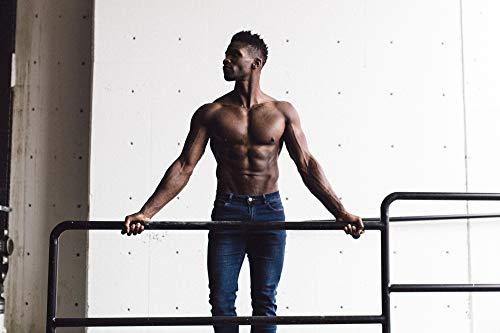 Barbell Men's Athletic Fit Jean - Straight Leg, 4-Pocket Denim, Dark Distressed, 36