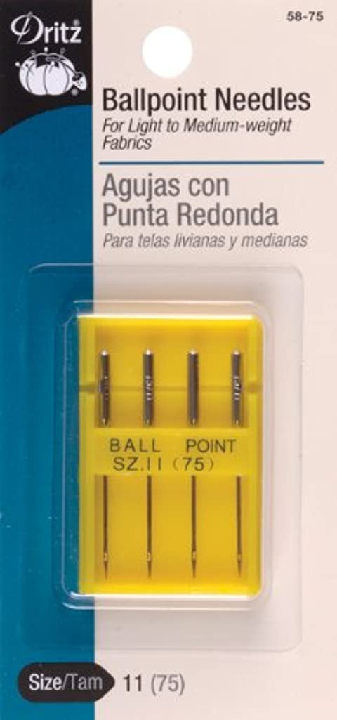 Dritz 58-75 Machine Needles, Ball Point, Size 11 (4-Count),