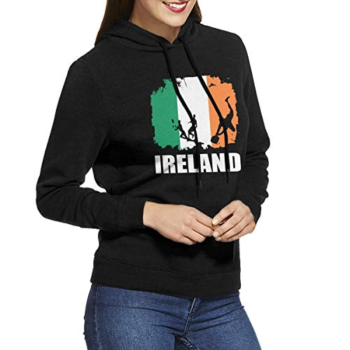 HAYDE Women's Long Sleeve Pullover Sweatshirt Ireland Flag Football Rugby Player Hoodies Without Pockets