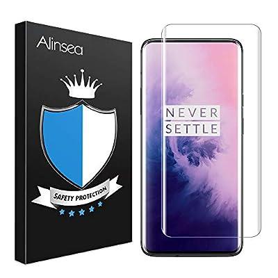 Alinsea Screen Protector for OnePlus 7 Pro/7T Pro Tempered Glass [Full Adhesive] [Fingerprint Sensor Compatible][3D Glass] Screen Protector for OnePlus 7 Pro/7T Pro