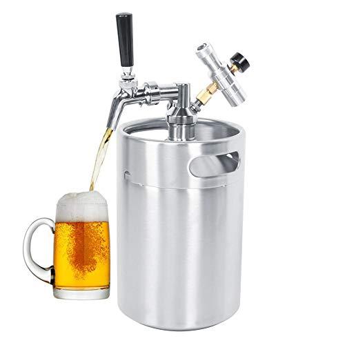 Barril de cerveza, dispensador de lanza de barril de cerveza de acero inoxidable de 5L Mini dispensador de lanza de barril Manómetro de clase 2, utilizado para distribuir su cerveza de barril, café