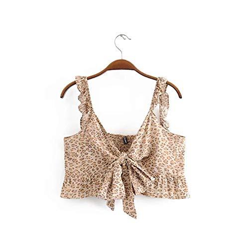 HOSD Ladies Fashion Leopardenmuster Kurzes geknotetes elastisches Hemd