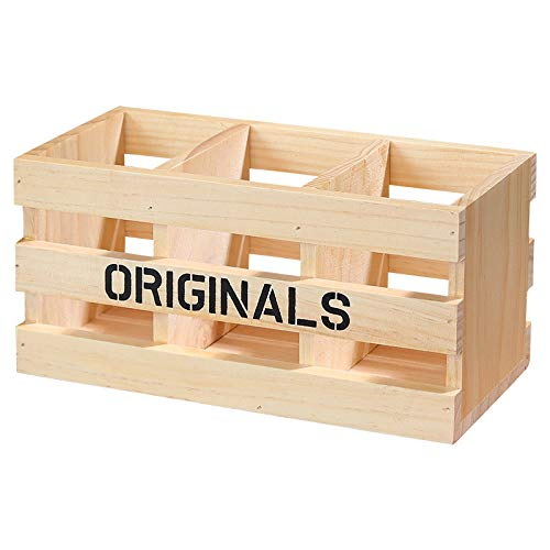 YXR Office Creative Retro Solid Wood Three Grid Hollow Pen Holder Multifunctional Wooden Storage Hollow Pen Holder