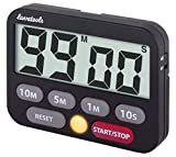 Lavatools Kitchen Timer & Stopwatch, Large Digits, Loud Alarm, Mute Function, Quick-Set Buttons, Magnetic Stand (Black)
