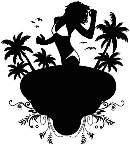 Wall Sticker A Sexy Lady Wearing a Bikini on The Beach Wall Sticker Bedroom Vinyl Removable Palm Tree Wall Sticker Bird Wall Sticker 44x48cm