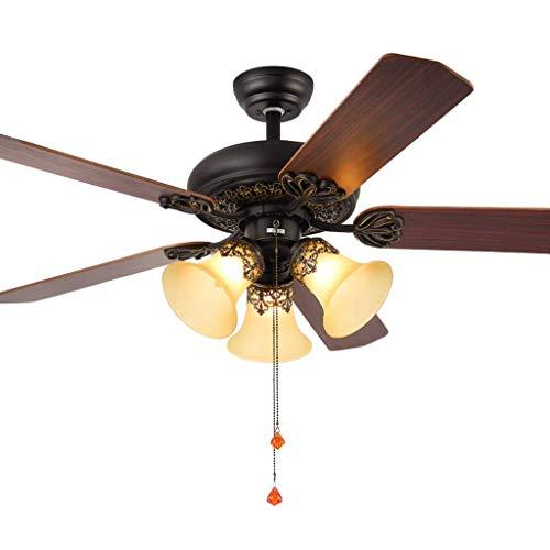 Equipo para el hogar Ventilador de luz estaurant antiguo ventilador etro iluminado para el hogar Luz de la sala de estar Luz de un ventilador Luz de un ventilador (Color: A 42 Tamaño: Control remot
