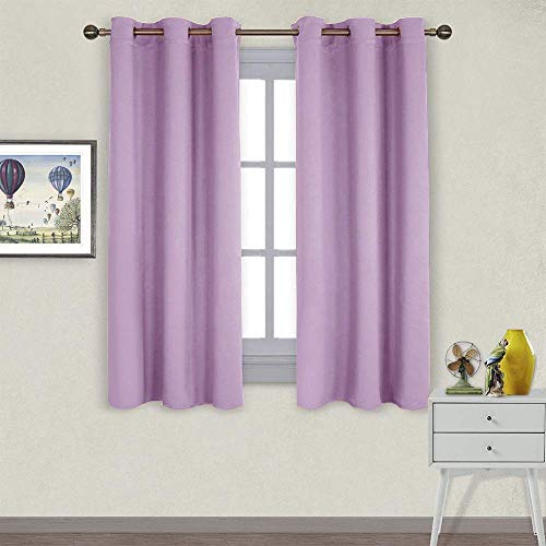 NICETOWN Blackout Curtains for Theater, Window Curtains Thermal Insulated Drapes, Cold and Heat Reduction Curtains for Kitchen (Lilac, 2 Panels, W42 x L63 inches)