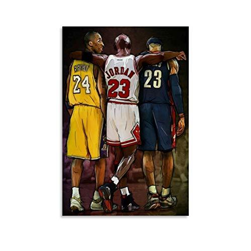 TINGTAI - Stampa artistica su tela e poster da parete, motivo: Lebron James e Michael Jordan e Kobe Bryant, 50 x 75 cm