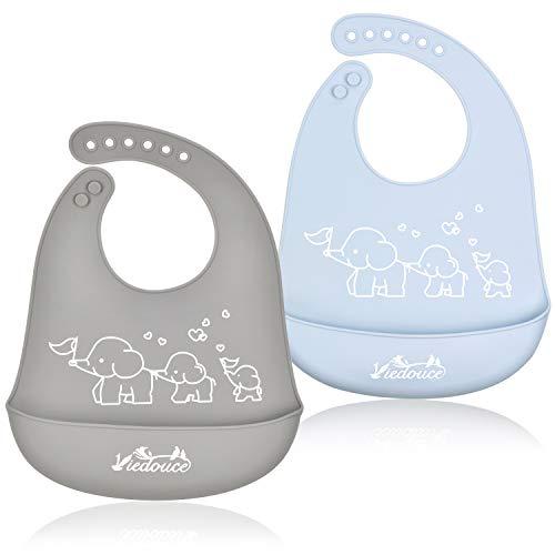 Viedouce Bavaglini Neonato Impermeabili,Silicone Bavaglino per neonato con 6 pulsanti regolabili,Bavaglini Dribble Baby per le ragazze dei ragazzi, Super morbido & Pulisci facilmente