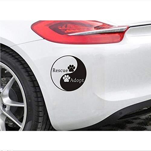 Waofe Mur Enfantsl Vinyle Autocollant De Voiture Style Chinois Ying Yang Rescue Et Adopter Amovible Imperméable À L'Eau Design De Voiture Décoration Diy 15 * 15Cm