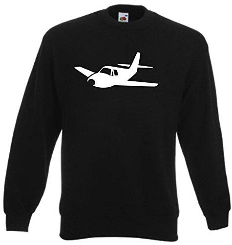 Black Dragon - Sweatshirt Herren & Damen schwarz - XXL - Fruit of The Loom - Bedruckt - Airplane - Pilot Wings - Fasching Party Geschenk Funshirt