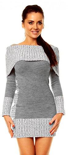 Zeta Ville - Damen Pullover aus Grobstrick Carmen-Ausschnitt Strick-kleid - 913z (Grau, 38/42)