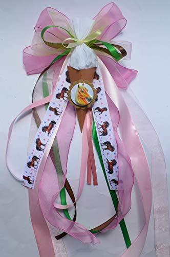 Schultütenschleife passt zu Pferde-Schultüten - mit Mini-Schultüte und Name personalisiert, 2 Farben