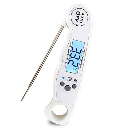 LMAYMM Large LCD Digital Cooking Food Meat Thermometer,Best Waterproof Ultra Fast Thermometer with Backlight & Calibration,for BBQ/Oven/Smoker/Candy/Meat/Food/Liquid/Milk,White