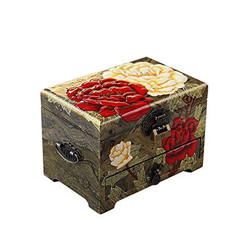 Astucci per gioielli Jewellry Box Organizzatore con vassoio rimovibile dipinto a mano dipinto a mano Display di archiviazione Cassa di stoccaggio stile cinese Orecchino Vetrina Armadio per le donne Ra