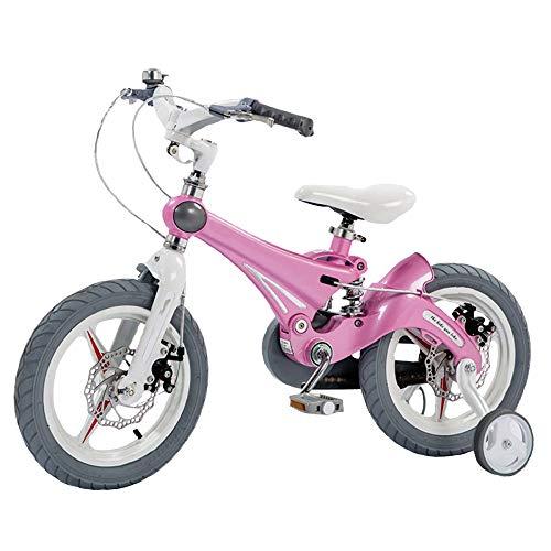 HGA Bicicleta Niños Marco Acero Bicicleta Aprendizaje Infantil 16-18-20 Pulgadas Bicicleta para Niños con Rueda Entrenamiento Estabilizadores,Pink-12寸