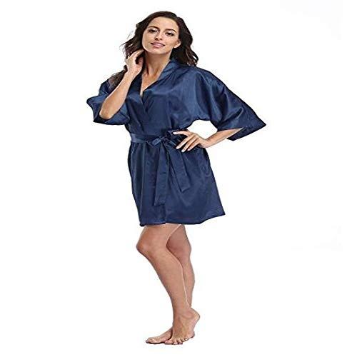 Handaxian Satin-Pyjama-Spitze-Bademantel-Unterwäsche und Pyjama-Roben der Frauen vervollkommnen Brautjungfern-Kleidmarine L
