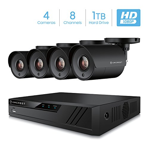 Amcrest 8CH Security Camera System Full 1080P HD-CVI Video DVR with 4X 1920TVL 2MP 1080P Indoor Outdoor Weatherproof IP67 Cameras, 1TB Hard Drive, 98ft Night Vision, for Home Business (AMDV20M8-4B-B)
