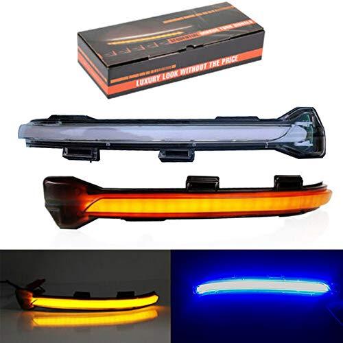 Ein Paar Blinker für Seitenspiegel LED Anzeigeleuchten mit Strahlend Blauem Licht für Golf 7 MK7 GTI 2015+ Transparente Schale