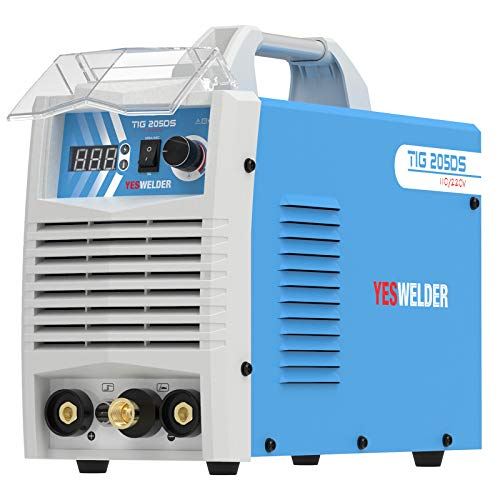 YESWELDER TIG-205DS HF TIG/Stick/Arc TIG Welder,205 Amp 110 & 220V Dual Voltage TIG Welding Machine with Foot Pedal
