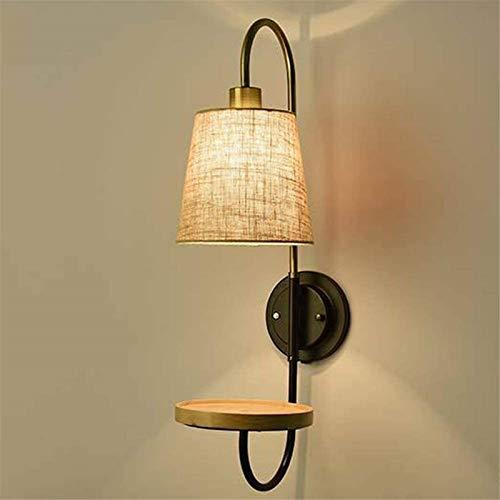 Lámpara industrial, Retrò minimalista parete leggero moderno del comodino del comodino ombra base in legno base da 25 pollici alta lampada da parete uso Edison E27 LED Bulb Bedroom Bedroom Lettura del