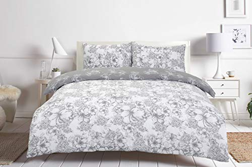 Night Comfort Cotton Blend Eco Breathable Duvet Cover Bedding Set With Pillowcases (King, Madison Floral Grey)