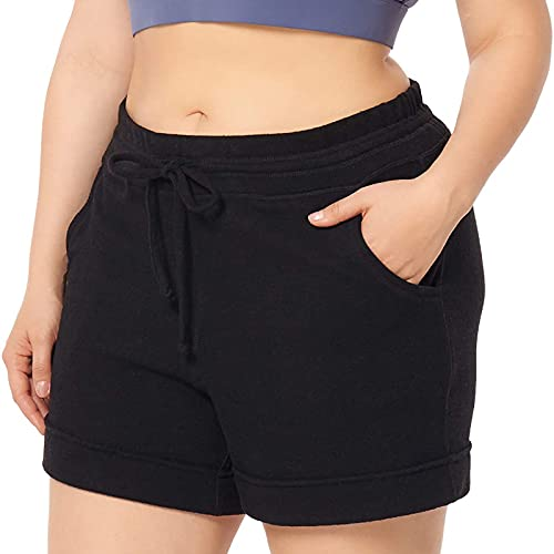 Pantalón Cortos Deportivos de Color Liso Talla Grande Mujer Pantalones de Deporte con Bolsillos Shorts Casual con Cordón Ajustables Pantalón Suelto Pantalones Deportes Absorbentes y Transpirables