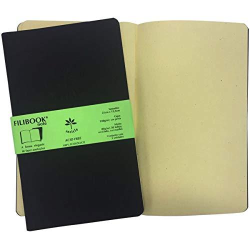 Caderneta Filibook, Filiperson, Preto e Marfim, 21x12,5 cm, 30 Folhas, Pacote com 2