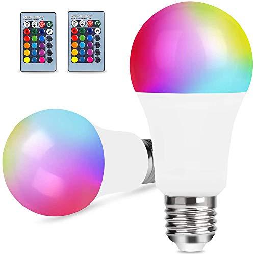 2 piezas Bombilla Regulable Cambio de Color LED E27 RGBW 10W 16 Colors, 24 keys Control Remoto, Multicolor and luz cálida o blanca fri, Luz Ambiente para Hogar, Decoración, Bar, Fiesta, KTV,...
