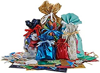 Gift Mate (2019) 70pc Drawstring Gift Bag Set with Tags