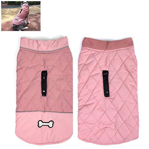 Einsgut hondenkleding dubbelzijdig draagbaar Pet Coat Warm Pet vest met reflecterende strepen waterdichte winterjas (XS-3XL) XXXL roze