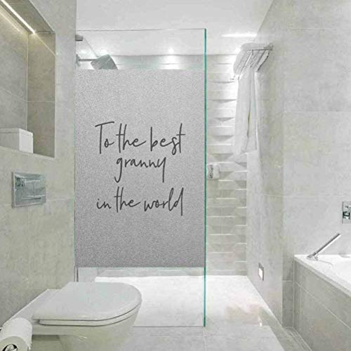 No Glue 3D Electrostatic Glass Film for Doors and Window, Grandma Brush Calligraphy Hand Drawn Quote The Best Gra, Home Bathroom Toilet Decorative, W23.6 x H78.7 Inch