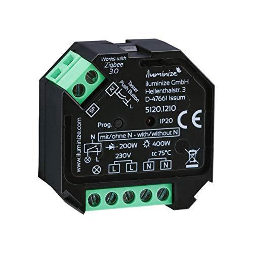 Ohne N-Leiter: iluminize Zigbee 3.0 Schalt-Aktor, 1 Kanal 230V, max. 400W, Lightlink & Touchlink, keine Dimmfunktion