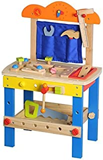 Lelin Wooden Childrens Diy Builder Carpentry Construction Work Bench Kids Pretend Play Toy Tool Set 49 Pieces [並行輸入品]