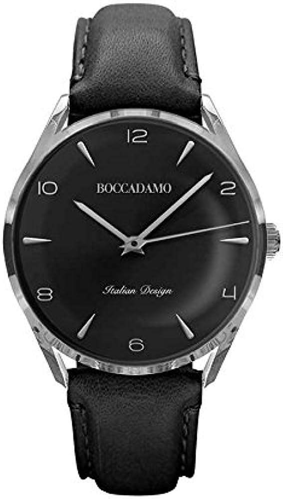 Boccadamo, orologio da uomo vintage, con cinturino in pelle WA005