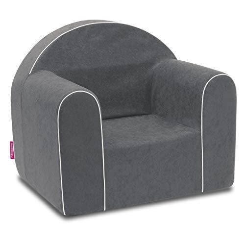 Mini sillón infantil para bebé, sillón, sofá, silla infantil, silla de espuma, respetuoso con el medio ambiente (gris)