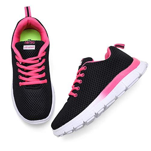 nerteo Girls Running Shoes Kids Sneakers Lightweight Tennis Shoes Black/Fushia 2 M US Little Kid