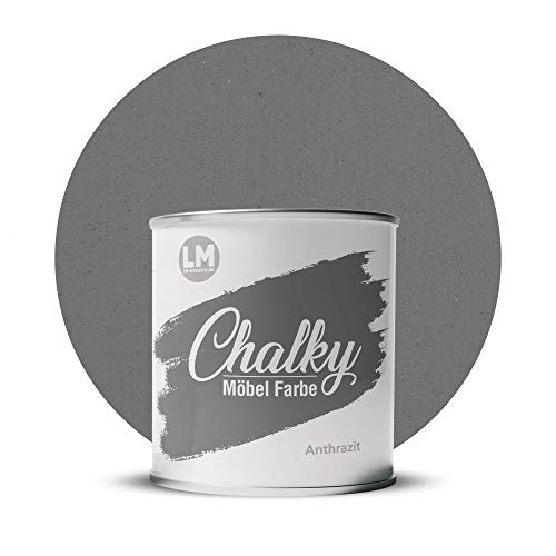 LM-Kreativ Chalky Möbelfarbe deckend 1 Liter / 1,35 kg (Anthrazit), matt finish In- & Outdoor Kreide-Farbe für Shabby-Chic, Vintage, Landhaus
