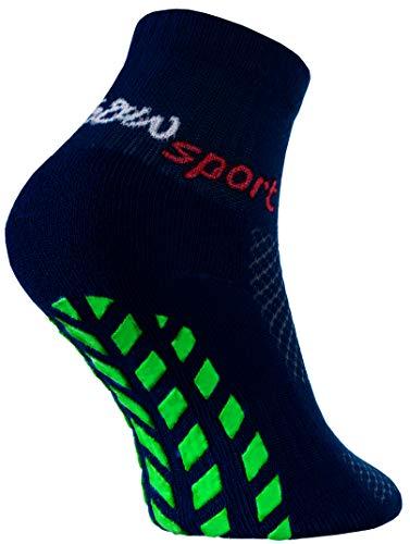 Rainbow Socks - Jungen Mädchen Neon Sneaker Sport Stoppersocken - 1 Paar - Blau - Größen 30-35