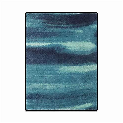 artkingdom Alfombra Alfombrillas decoración para Sala de Estar Alfombra Combinación Azul Oscuro y Azul Claro Tamaño 80 * 160 cm