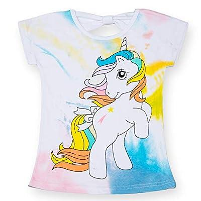 TTYAOVO Camiseta de Algodón Unicornio para Niñas, Camiseta de Manga Corta para Niños Camiseta de Impresión Unicornio Lindo Tamaño 7-8 Años Unicornio-Blanco