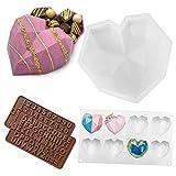 Stampo a forma di cuore,Stampi in silicone per cioccolatini con numero di lettere e caramelle a forma di cuore, 4 set per mousse, torte, dessert, biscotti fai da te